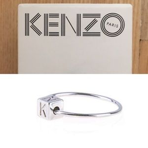 Kenzo Authentic Silver Rhodium Cube Ring New Box
